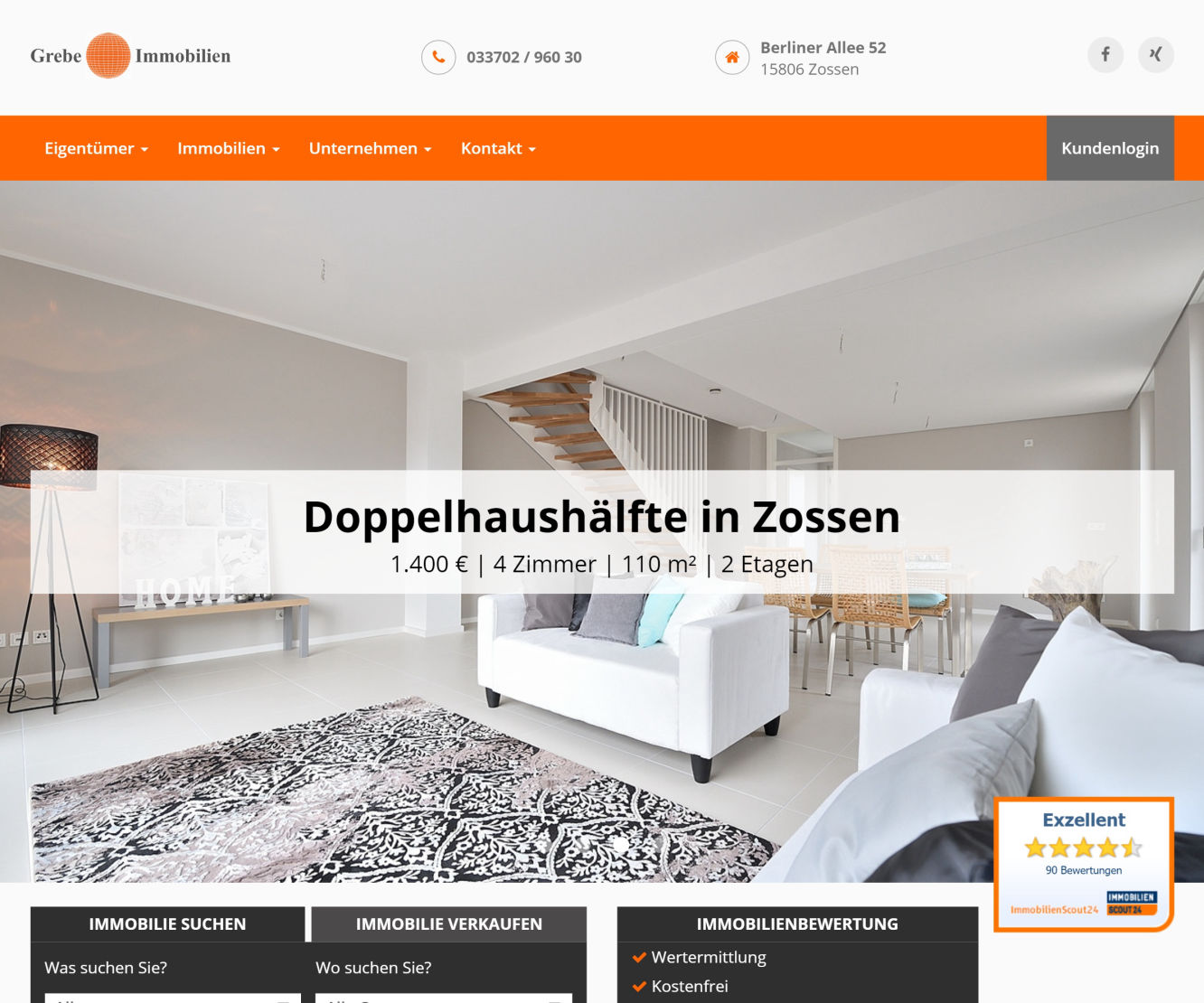 GREBE Immobilien Website